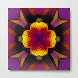 yellow pink flower and feathers mandala Metal Print