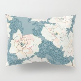 Teal and Peach Peony Floral Pillow Sham