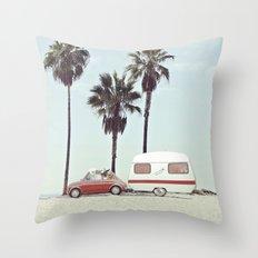 NEVER STOP EXPLORING - CAMPING PALM BEACH Throw Pillow