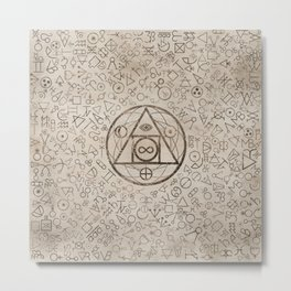 Philosopher's stone symbol and Alchemical  pattern #3 Metal Print