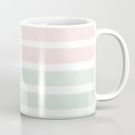 Gender neutral stripes mint pastel pink grey striped pattern nursery art Coffee Mug