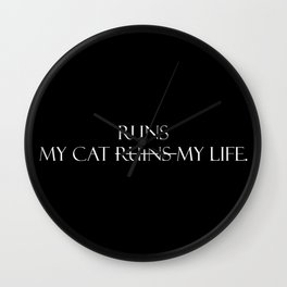 My cat runs...(White Font) Wall Clock