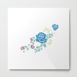 Blue Embroidery Rose Metal Print