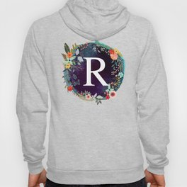 Personalized Monogram Initial Letter R Floral Wreath Artwork Hoody