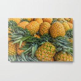 Pineapples at Market Metal Print
