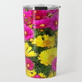 FUCHSIA GARDEN FLOWERS YELLOW COREOPSIS Travel Mug