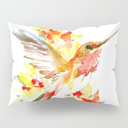 Hummingbird and Flame Colored Flowers Pillow Sham