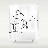 rio de janeiro Shower Curtains featuring Rio janeiro Christ copacabana by Lineamentum