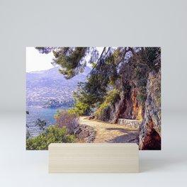 Hiking pathway on the seacoast of Cap Martin Mini Art Print