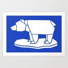 Origami Polar Bear Art Print