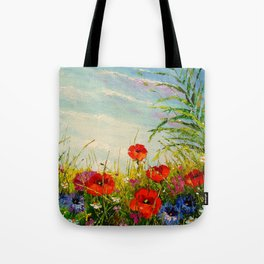 Field in poppies and cornflowers Tote Bag