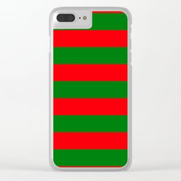 Red and Green Christmas Cabana Stripes Clear iPhone Case