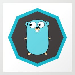 Golang Go cute Squirrel baby programming Mouse sticker Art Print