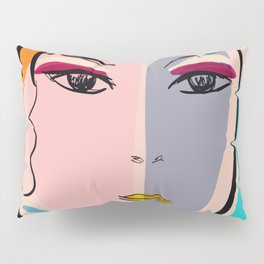Pastel Pop Art Girl Portrait Minimalist Pillow Sham