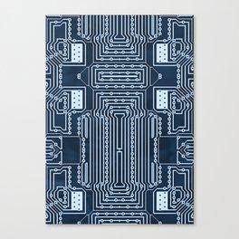 Blue Geek Motherboard Circuit Pattern Canvas Print