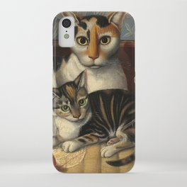 American 19th Century Cat and Kittens Oil Painting 1872 iPhone Case