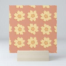 Yellow and Orange Tickseed Flower Pattern Mini Art Print