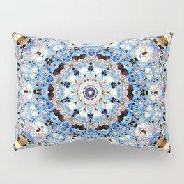 Blue Brown Folklore Texture Mandala Pillow Sham