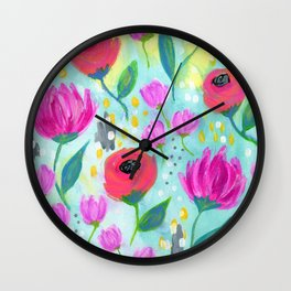 Pink and Coral Flowers, Floral Painting Pattern, Girl's Room Decor, Interior Design Wall Clock