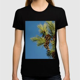 Pine cones and branches against a blue autumn sky T-shirt