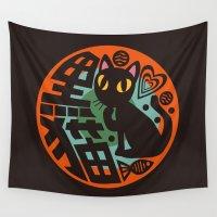 black cat Wall Tapestries featuring Black Cat by BATKEI