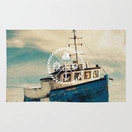 Blue Brown Vintage Nautical Anchor Sailing Boat Rug