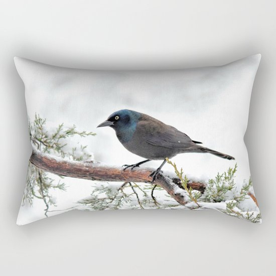 Snow Grackle Rectangular Pillow