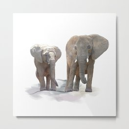 Digital Painting of  Mother and Baby Elephants Metal Print