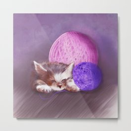 Tiny Sleepy Kitten Metal Print