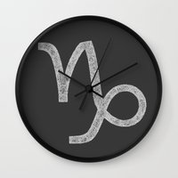 capricorn Wall Clocks featuring Capricorn by David Zydd
