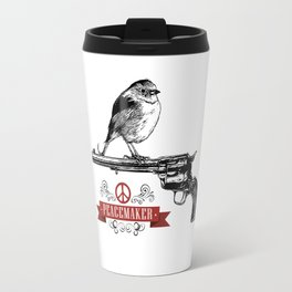 Bird perched on top of the barrel of a Colt Peacemaker peace-sign Travel Mug