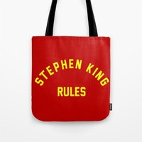 stephen king Tote Bags featuring Stephen King Rules by Caroline Blicq