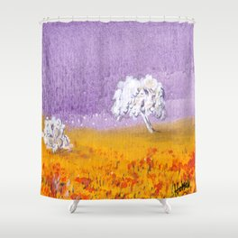 Purple and Gold Landscape Shower Curtain