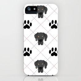 Black Great Dane Paw Print Pattern iPhone Case