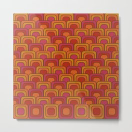 Geometric Retro Pattern Metal Print