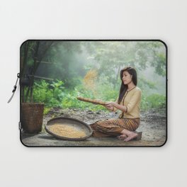 Asian Woman Sowing Rice Laptop Sleeve