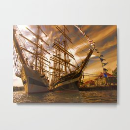 Tall ships in the sunset Metal Print
