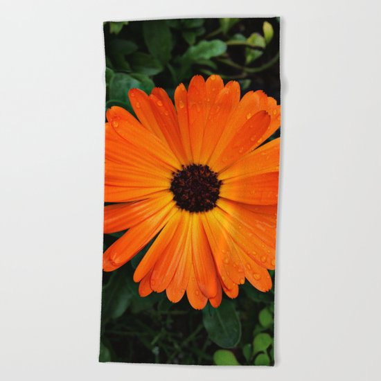 SMILE - DAISY FLOWER #3 #Orange #Raindrops Beach Towel