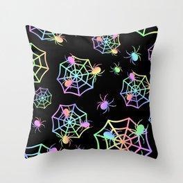Pastel Spider Webs Throw Pillow
