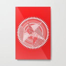 White & Red Mandala Art Metal Print