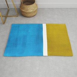 Colorful Bright Minimalist Rothko Olive Green Jewel Blue Midcentury Modern Art Vintage Pop Art Rug