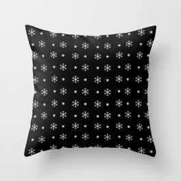 Black background with silver snowflakes and stars pattern Throw Pillow