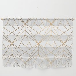 Geometric Gold Pattern With White Shimmer Wall Hanging