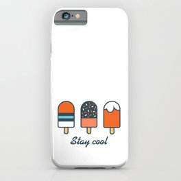 Stay cool popsicles in blue and orange  iPhone Case