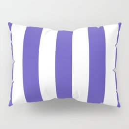 Ocean Blue - solid color - white vertical lines pattern Pillow Sham