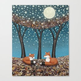 starlit foxes Canvas Print
