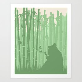 Panda in a Bamboo Forest Art Print