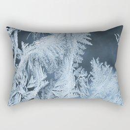 White Ice Crystals On Blue Background #decor #society6 #homedecor Rectangular Pillow