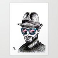 rave Art Prints featuring Reflective Rave by Samantha J Creedon
