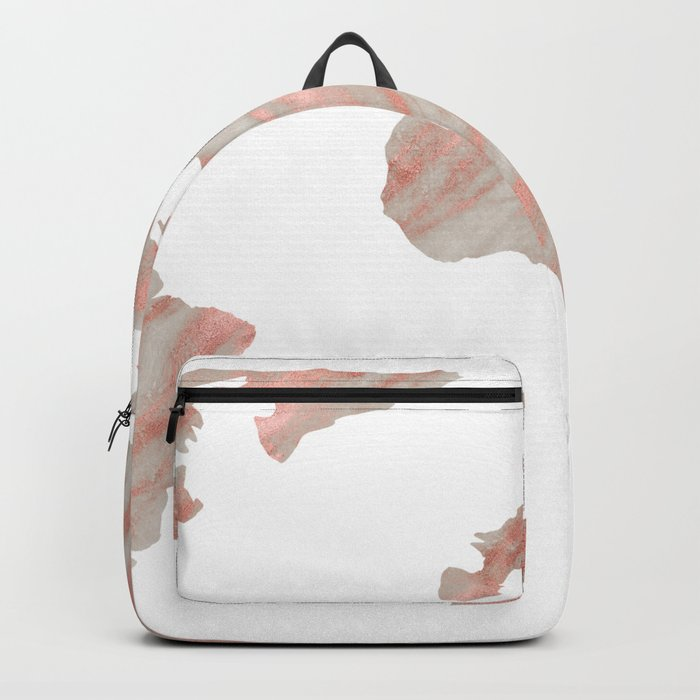World Map Marble Rose Gold Backpack